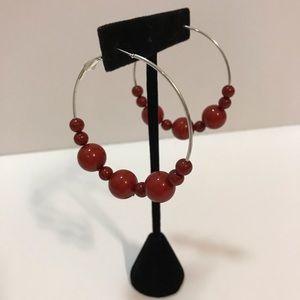 VINTAGE Silver Hoop Earrings with Red Beads 💯